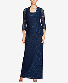 Alex Evenings Petite Sequined Lace Column Gown & Jacket