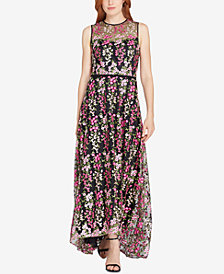 Tahari ASL Floral-Embroidered Illusion Gown