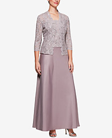 Alex Evenings Plus Size Sequined Lace Satin Dress & Jacket