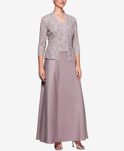 Alex Evenings Plus Size Sequined Lace Satin Dress & Jacket