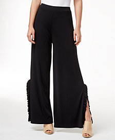 kensie Ruffle-Trim Wide-Leg Pants