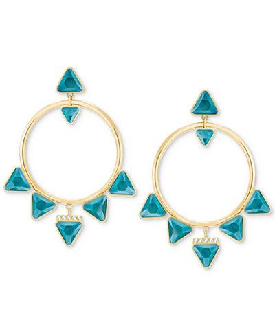 Swarovski Gold-Tone Crystal Drop Hoop Earrings