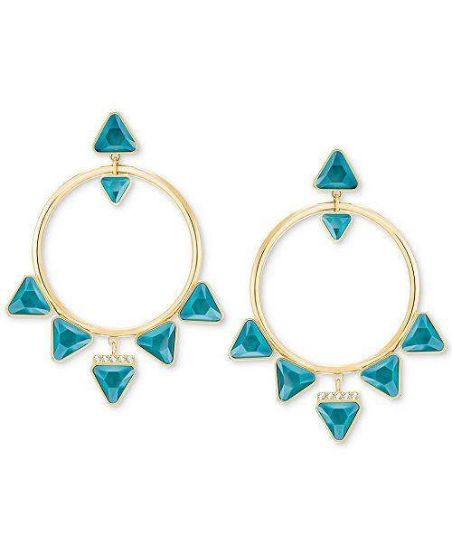 """Swarovski Gold-Tone Crystal Drop 1-7/8"""" Hoop Earrings"""