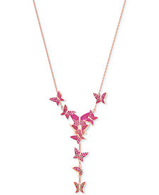 "Swarovski Rose Gold-Tone Butterfly 14-7/8"" Y-Necklace"