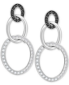 Swarovski Crystal Pavé Triple Ring Drop Earrings