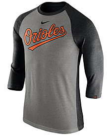 Nike Men's Baltimore Orioles Tri-Blend Three-Quarter Raglan T-shirt
