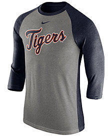 Nike Men's Detroit Tigers Tri-Blend Three-Quarter Raglan T-shirt