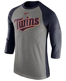 Nike Men's Minnesota Twins Tri-Blend Three-Quarter Raglan T-shirt