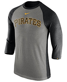 Nike Men's Pittsburgh Pirates Tri-Blend Three-Quarter Raglan T-shirt