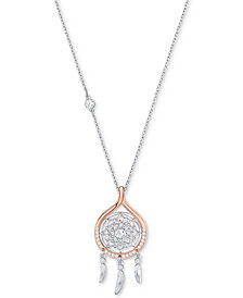 "Swarovski Two-Tone Crystal Dream Catcher 16-1/2"" Pendant Necklace"