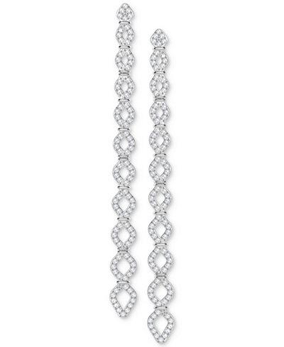 Swarovski Silver-Tone Crystal Pavé Linear Drop Earrings