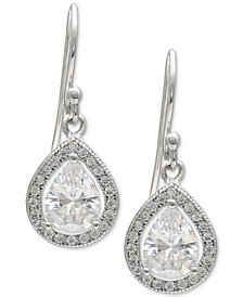 Giani Bernini Cubic Zirconia Teardrop Halo Drop Earrings in Sterling Silver, Created for Macy's