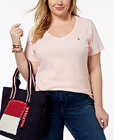 Tommy Hilfiger Plus Size Cotton V-Neck T-Shirt