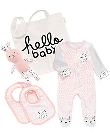 First Impressions Hello Baby Tote, Bunny Plush, Bibs & Coverall, Baby Girls, Created for Macy's
