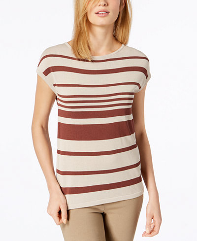 Weekend Max Mara Striped Short-Sleeve Sweater