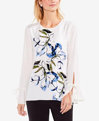 Vince Camuto Printed Long Sleeve Top For Sale Footlocker ndLE6l565