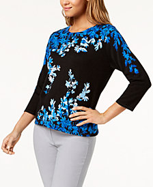 Alfred Dunner Petite Upper East Side Cotton Embellished Sweater