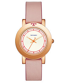 Tory Burch Women's Ellsworth Blush Pink Leather Strap Watch 36mm