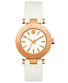 Tory Burch Women's Classic T White Leather Strap Watch 36mm