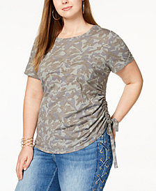 I.N.C. Plus Size Cotton Ruched Camo-Print T-Shirt, Created for Macy's