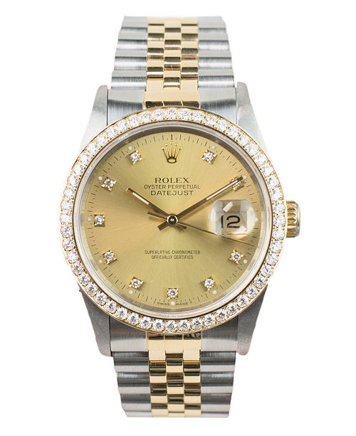 c727985e3da ... Pre-Owned Rolex Men s Swiss Automatic Datejust Jubilee 18K Gold    Stainless Steel Bracelet Watch ...