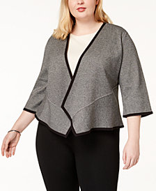 Alfani Plus Size Open-Front Peplum Cardigan, Created for Macy's