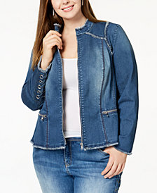 I.N.C. Plus Size Lace-Up Denim Jacket, Created for Macy's