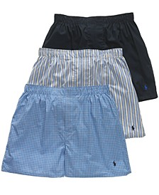 Men's 3-Pk. Classic Woven Cotton Boxers