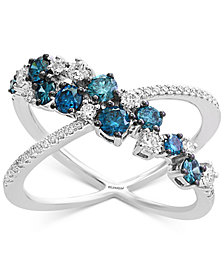 EFFY® Shades of Bleu  Diamond X Ring (1 ct. t.w.) in 14k White Gold