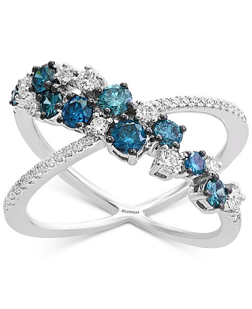 EFFY Collection EFFY® Shades of Bleu  Diamond X Ring (1 ct. t.w.) in 14k White Gold