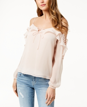 5c16dd937dd1f7 Guess Lace-Up Cold-Shoulder Top In Scallop Shell
