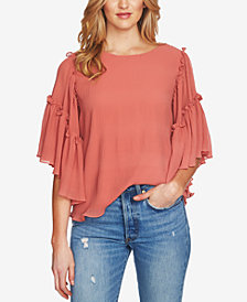 1.STATE Ruffled Asymmetrical-Sleeve Top