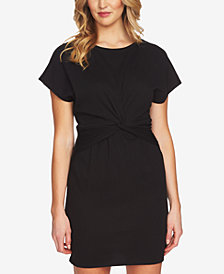 1.STATE Short-Sleeve Twist-Front Dress