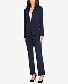 Tahari ASL Ticking-Stripe Single-Button Pantsuit