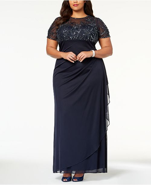 Plus Size Embellished Empire-Waist Gown