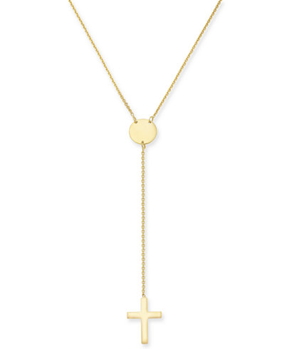 Cross Lariat Necklace in 14k Gold