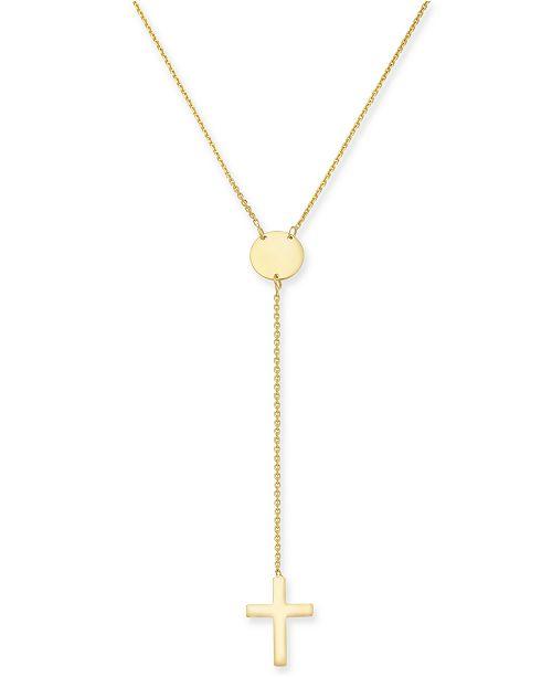 Macy's Cross Lariat Necklace in 14k Gold