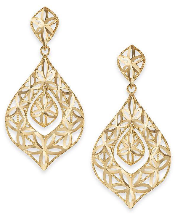 Macy's Openwork Dangle Drop Earrings in 14k Gold