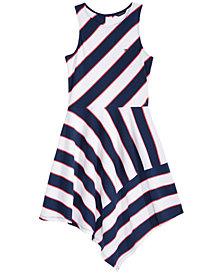 Tommy Hilfiger Striped Asymmetrical-Hem Dress, Big Girls