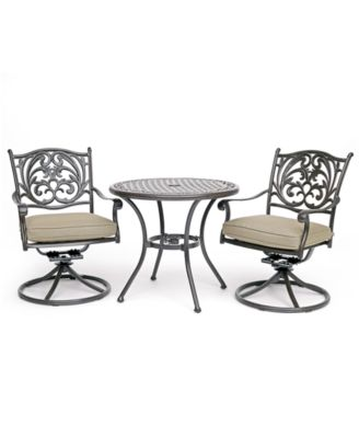 "Chateau Outdoor Aluminum 3-Pc. Dining Set (32"" Round Cafe Table & 2 Swivel Rockers) with Sunbrella® Cushions, Created For Macy's"