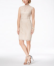 Vince Camuto Mock-Neck Metallic Lace Dress
