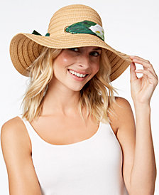 I.N.C. Palm-Print-Scarf Floppy Hat, Created for Macy's