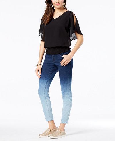 Thalia Sodi Smocked Top & Ombré Skinny Jeans, Created for Macy's
