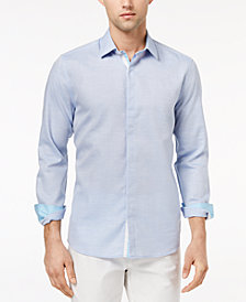 Ryan Seacrest Distinction™ Men's Slim-Fit Blue Heather Sport Shirt, Created for Macy's