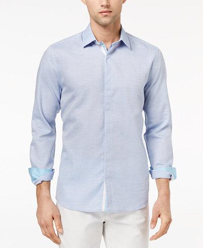 Ryan Seacrest Distinction™ Men's Slim-Fit Blue Heather Sport Shirt, Created for Macy's