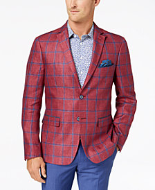 Tallia Orange Men's Modern-Fit Raspberry Windowpane Sport Coat