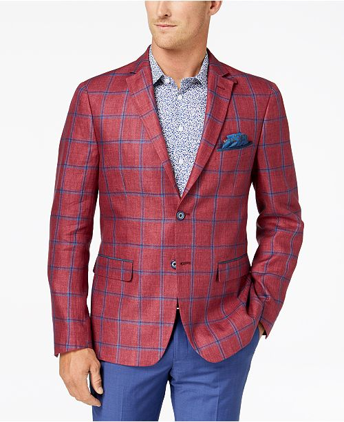 9e23d80a8d ... Tallia Orange Men s Big   Tall Modern-Fit Raspberry Windowpane Sport  Coat ...