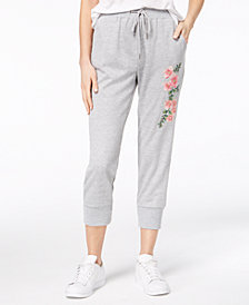 One Hart Juniors' Embroidered Cropped Jogger Pants, Created for Macy's
