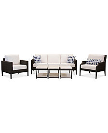 Fiji Aluminum Outdoor 6-Pc. Seating Set (1 Sofa, 1 Club Chair, 1 Accent Club Chair & 3 End Tables) with Sunbrella® Cushions, Created for Macy's