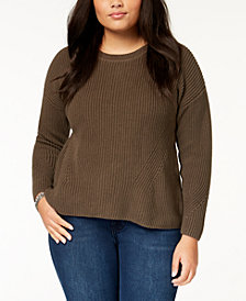 Lucky Brand Trendy Plus Size Lace-Up-Back Sweater